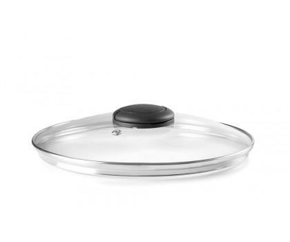 Couvercle verre inox bouton repliable 14 cm