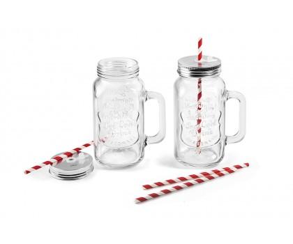 2 jarres en verre avec pailles