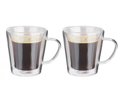 2 tasses en verre double paroi anse 180 ml
