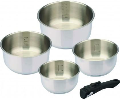 4 casseroles inox 14 à 20 cm queue amovible